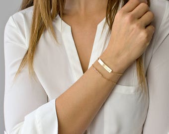 Nameplate Bracelet, Gold Bar Bracelet, Personalized Bar Bracelet, Gold Fill, Sterling Silver, Rose Gold, Wedding Gift/B/Gifts for Her/B204