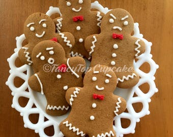 GingerBread with Expressions (Qty. 10) fondant hearts & bow ties. Homemade edibles by FancyTopCupcake