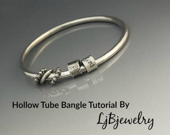 Silver Bangle Tutorial, Tube Bangle Tutorial, Metalsmith Tutorial, Metalwork, Handmade Jewelry, Bangle, Hand Fabricated
