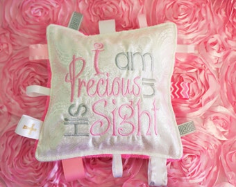 """Baby Girl, or Baby Boy, keepsake baptism gift, 10"""" crinkle toy pillow,  Christening gift. can be personalized with name and date"""