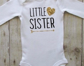 Baby clothes - Little sister baby bodysuit - Little sister announcement body suit - little sister glitter shirt - little sister shirt