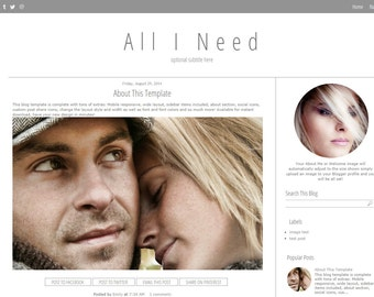 Modern Blogger Template - Grey Blogger Template -  Mobile Responsive Blog Template