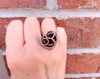 Coiled Copper Statement Ring