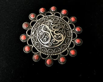 950 Silver Egyptian Coral Brooch/Pendant