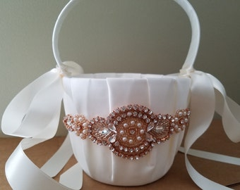 SALE - Wedding Flower Basket, Flower Girl Basket, Rhinestone/Pearl Flower Basket  - Style BK1014RG