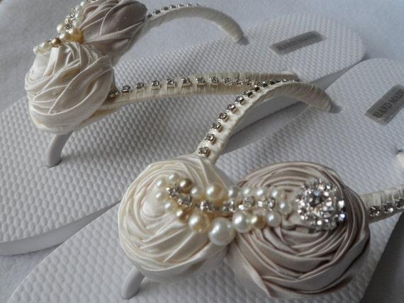 Flip Flip Sandals Flops Bridal Bridal Rolled Flops Wedding Flops Flip Shoes Champagne Flowers amp; Bridesmaids Ivory 8qI04Z