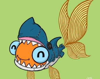 Goldfish in a Shark Costume 8x8 print