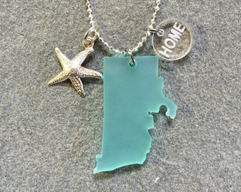 Rhode Island State Sea Glass Style Starfish HOME Necklace
