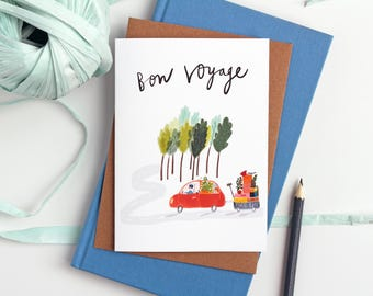 Farewell Card - Bon Voyage card - traveller - Gap Year - Student Card - Moving Card - greetings card - Retirement - Leaving card - Suitcase