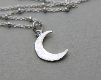 Crescent Moon Necklace, Moon Necklace, Crescent Necklace, Sterling Silver Half Moon Necklace, Celestial Necklace, Inspirational Necklace