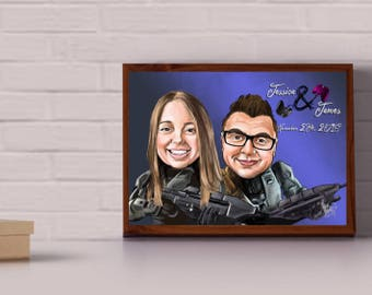Custom wedding caricature for 2 people - 100% personalized, it makes a great wedding gift, save the date flyer or as a guest signage board