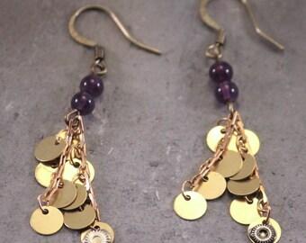 Purple earrings, earrings gear Delphy art purple cluster earrings
