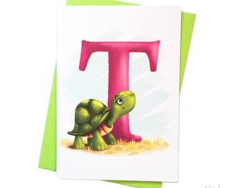 Illustrated - Alphabet - Greeting Card - T is for Turtle