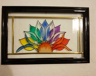 Colourful Flower Glass Painting/Glass Art/ Hanging Art/ Framed Art/ Framed Painting/ Colourful Painting