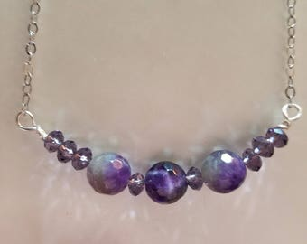 Amethyst and Purple Swarovski Crystal Bead Necklace, Amethyst Necklace, Crystal Necklace, Purple Necklace, Silver Necklace