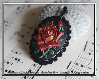 Handmade pendant. Red rose cameo pendant. Handmade in Australia. Cameo pendant. Australian shop
