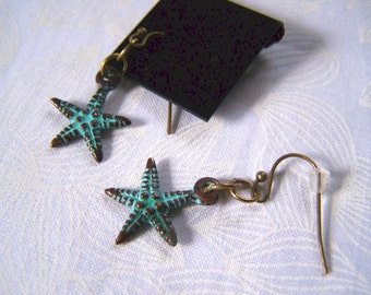 Earrings Patina Brass Starfish