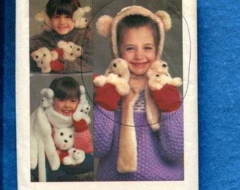 1980's Simplicity 6669 Fun Bears Mittens Ear Muffs Hat & Scarf Pattern