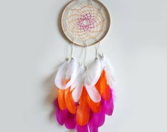 White, Orange & Pink Feathered Dreamcatcher
