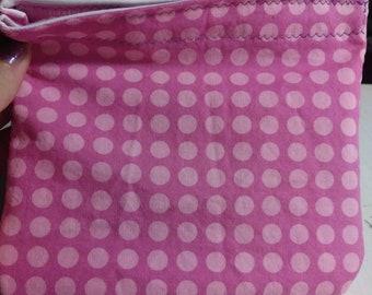 Pink polka dot reusable snack bag