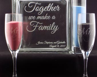 """Memorial Day Sale 40% OFF! Personalized Blended Family Sand Ceremony Set 8"""" Glass Block w/choice of 3 Pouring Containers Extra Avail"""