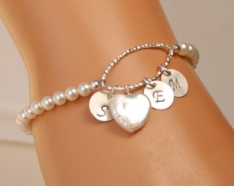 Personalized Pearl Heart Bracelet, Mother's Day Gift, Mother of Bride Gift, Mother of Groom, Sterling Silver Bracelet, Pearl, Initial Charms