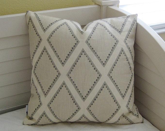 Kravet Brookhaven in Oyster Gray Linen Designer Pillow Cover - Square, Lumbar or Euro Pillow Cover