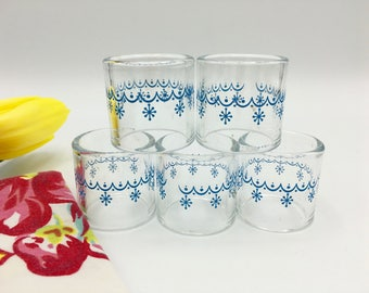 Vintage Pyrex Napkin Rings, Snowflake Pattern, Blue on Clear Glass, Set of 5
