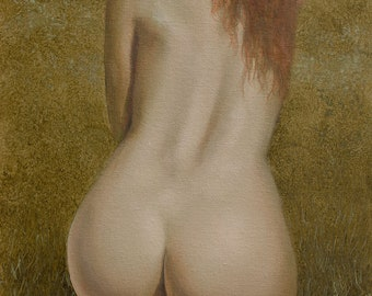 Erotic Nude Female Art - Nude in Nature - Mature Original Oil Painting by Award Winning UK Artist JOHN SILVER. B.A.