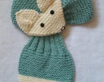 Adjustable KIDS Fox Scarf Hand Knit Scarf / neck warmer