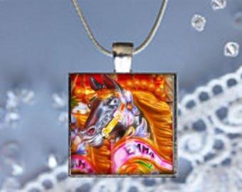 Pendant Necklace Carousel Horse