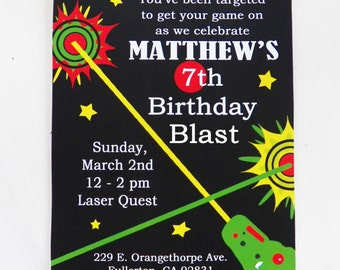 Laser tag girl birthday invitation printable or printed with laser tag birthday invitation printable and printed with free shipping laser tag collection filmwisefo