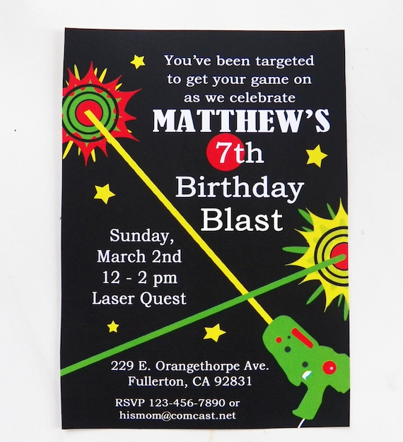 Laser tag birthday invitation printable and printed with free like this item filmwisefo Images