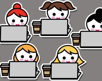 Work clipart, working clip art, notebook coffee cup, planner icon emoti girl character sticker clip art / commercial use graphic