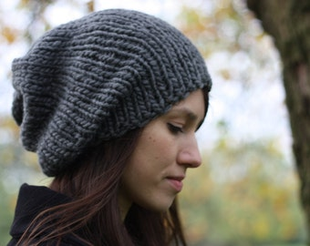Winter Hat Slouchy Beanie Women's Slouchy Hat Hand Knit Chunky Hat Winter Accessories Gray