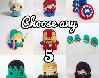 "CHOOSE ANY 5 PDF Patterns Amigurumi Keychain Miniature Doll ""Pod People"""