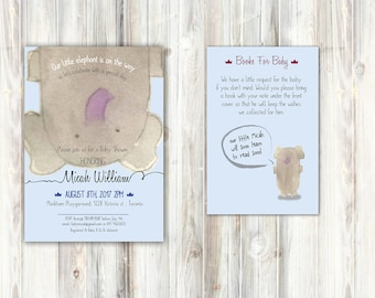 Baby Shower Invitation - Blue Elephant- Bring a Book Card set- Watercolor Handmade