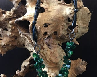 Onyx and green coral necklace