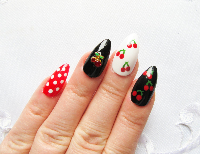 Rockabilly Cherry Pin Up Nails / Fake Nails / Stiletto Nails /