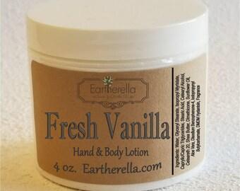 Eartherella FRESH VANILLA Hand and Body Lotion Jar 4 oz.