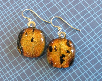 Orange Fused Glass Earrings, Dangle Earrings, Halloween, Autumn, Ready to Ship, Dichroic Fused Glass Jewelry - Wildwood - 1956 -6