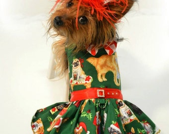 Dog Dress, Dog Harness Dress, Christmas Dress for Dogs, Holiday Dress, Ruffle Dress, Christmas Outfit, Handmade, Dog Fashion, Red and Green