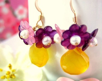 Pink and purple cherry blossom yellow chalcedony earrings, spring flower yellow chalcedony earrings, purple floral Mother's Day earrings