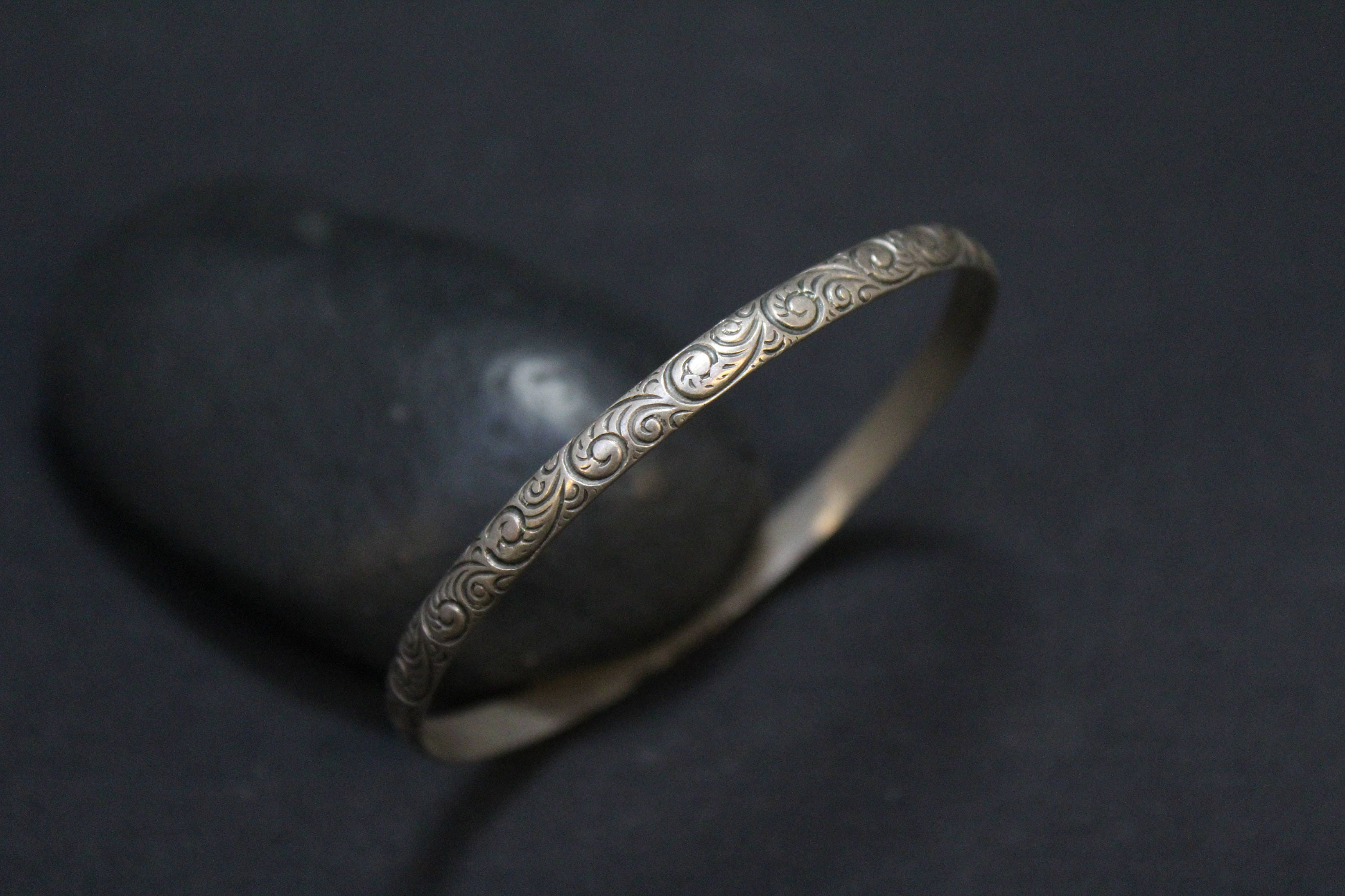 wide unisex swirl bands pattern and narrow set band silver wedding rustic pin sterling rings in smoke arabesque patterned