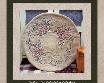 Prim Rose Wreath Candle Mat by Primitive Stitches-Primitive Stitchery E-Pattern-Instant Download