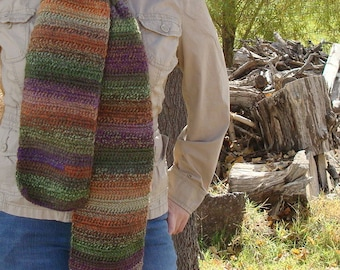 Tapestry: Wool Blend Multicolor Scarf - Crochet Scarf For Men or Women - Hoooked Scarves - Autumn Accessories - Green, Purple, Orange, Etc.