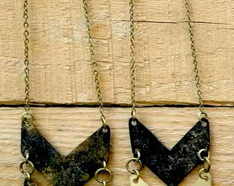 Double Brass Chevron Necklace with Black Patina Finish (N5)