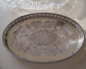 Sheffield England Silver Plate Gallery Tray Platter Sectioned Tray Vanity Tray Multi Purpose