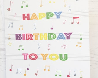 Music Birthday card - Rainbow birthday card - musical notes birthday card - rainbow card - happy birthday to you card - music card - musical