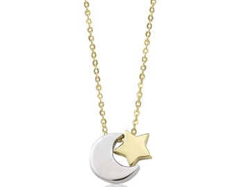 14K Solid Yellow White Gold Moon Star Necklace Pendant + Rolo Chain - Crescent Polished Charm